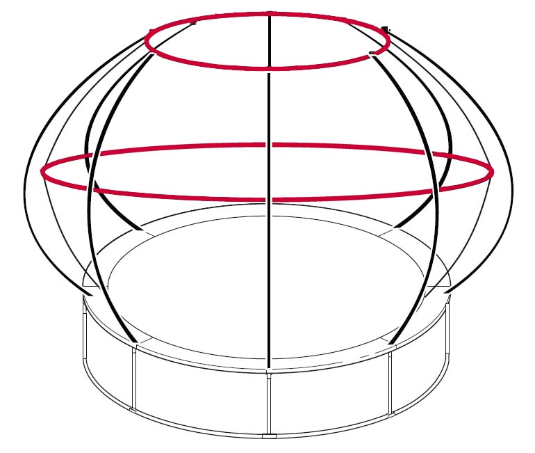 14ft Zorbpod Trampoline: 14ft ZorbPOD Top & Middle G3 Poles Set